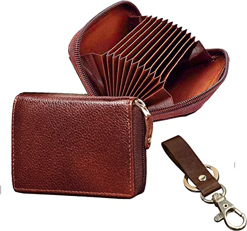 Genuine Leather Brown Men Wallet ATM Card Case Money Purse Card Holder With Zip Closure Set Of 2 One Wallet One Key Ring