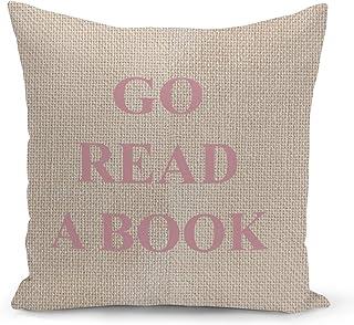 Read a Book Beige Linen Pillow with Rose Gold Glitter Foil Print Reader Gift Sofa Pillow