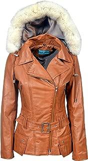 New Feminine Ladies Tan Hood Biker Style Designer Real Leather Jacket