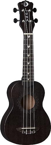 Luna Vintage Mahogany Soprano Ukulele, Black Satin