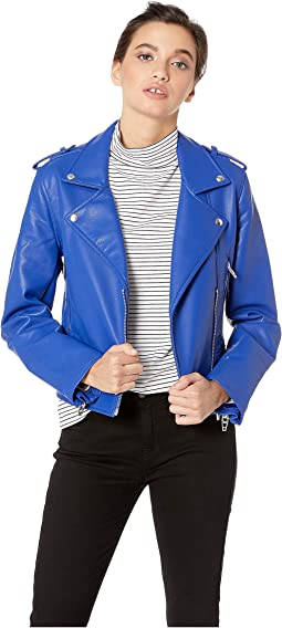 Vegan Leather Moto Jacket in Blue My Mind