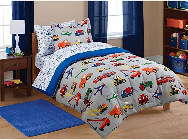 MS 5pc Boy Blue Green Red Car Truck Transportation Twin Comforter Set 5pc Bed In A Bag