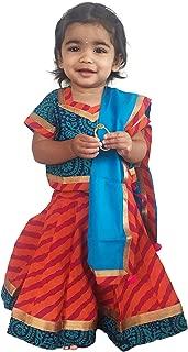 Flawn't Multicolor Traditional Cotton Lehenga Choli For Girls