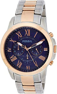 Fossil Grant For Men Blue Dial Stainless Steel Band Chronograph Watch Fs5024, Japanese Quartz, Analog