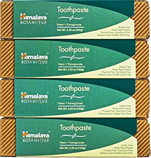 The Himalaya Drug Company Neem and Pomegranate Toothpaste, Natural, Fluoride-Free, SLS Free, Gluten Free & Saccharin Free,...