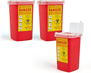 D & H Medical Sharps Disposal Container: 3-Pack Biohazard Needle Container 1-Quart Size| FDA-Approved, Safe Lock Containers for Disposal of Syringes, Blades & Lancets| Top Tattoo Supplies Disposal Kit