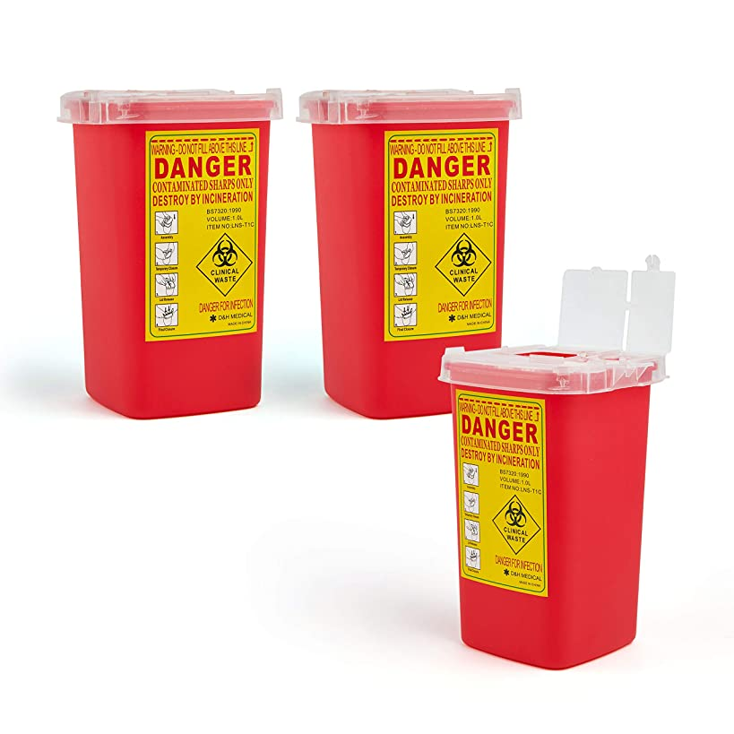 D & H Medical Sharps Disposal Container: 3-Pack Biohazard Needle Container 1-Quart Size  FDA-Approved, Safe Lock Containers for Disposal of Syringes, Blades & Lancets  Top Tattoo Supplies Disposal Kit