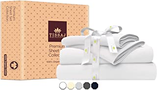 Sheet Sets for Queen Bed - 300-Thread-Count Organic Cotton Bed Sheets Set - Ultra White - 4 Piece Bedding - 100% GOTS Cert...