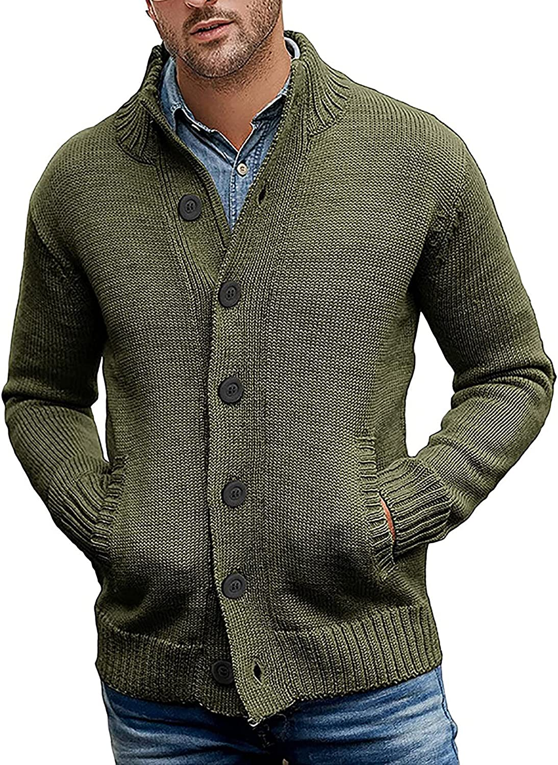 Mens High Collar Knit Cardigan Long Sleeve Slim Fit Button Open Front Knitwear with Pocket