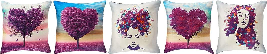 Panache Exports Printed Cushion Covers (Set of Five), Purple Heart Print