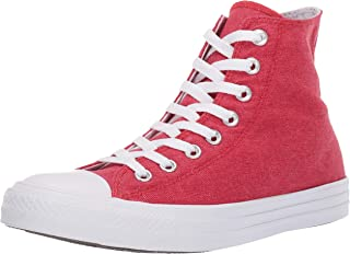 Converse Women's Unisex Chuck Taylor All Star Washed High Top Sneaker, Enamel Red White, 4 M US