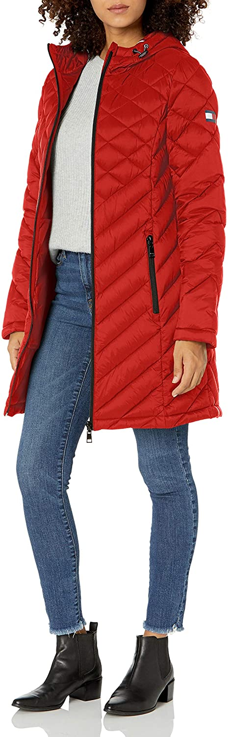 Tommy Hilfiger Women's Midlength Hooded and Quilted Packable Jacket