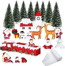 28 Pieces Christmas Miniature Ornaments Kit Fake Indoor Snow Blanket Christmas Snow Blanket Mini Christmas Tree Reindeer S...