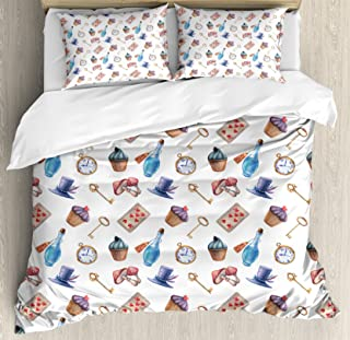 Ambesonne Alice in Wonderland Duvet Cover Set Queen Size, Cupcakes Mushrooms and Bottles Hanging in Sky Magical Dessert Print, Decorative 3 Piece Bedding Set with 2 Pillow Shams, Multicolor