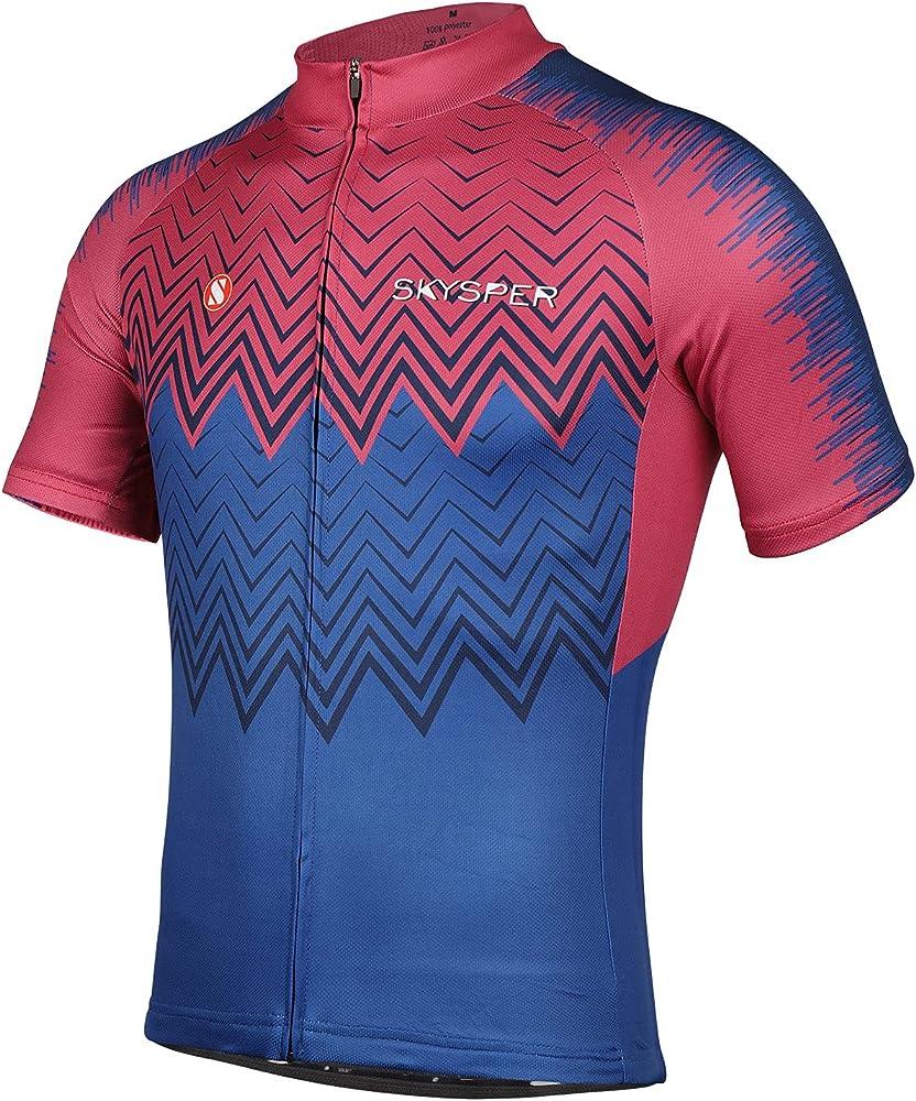 Skysper maglietta da ciclismo per uomo a manica corta traspirante e asciugatura rapida V3-080003-05-YT-3XL-EU-S
