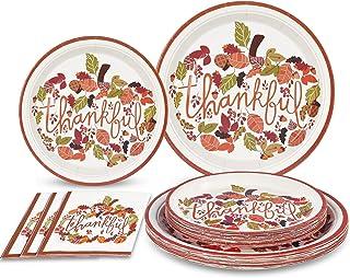 "Thanksgiving Paper Plates and Napkins Disposable Dinner Plates for 50 Guests Includes 50 9"" Dinner Plates 50 7"" Dessert Pl..."