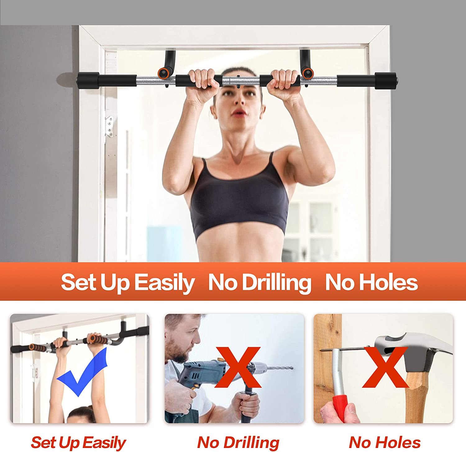 Exercise Equipment Body Gym System No Screws Trainer Multi-Grip Chin Up Bar /& Exercise Bar /& Home Workout YIOFOO Doorway Pull Up Bar with Ergonomic Grip
