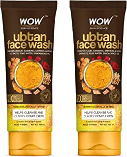 WOW Skin Science Ubtan Face Wash with Chickpea Flour, Turmeric, Saffron, Almond Extract, Rose Water & Sandalwood Oil - No ...