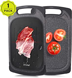 X-Chef Defrosting Tray, 2 in 1 Defrosting Cutting Board Thawing Plate for Kitchen Chopping Thawing Meat Chicken Fish Steak, 2 Side Use, 15.9x9.5inch, Black
