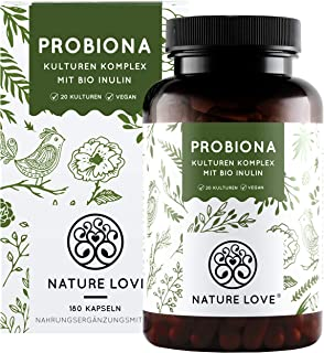 NATURE LOVE Probiona Komplex - 20 Bakterienstämme  Bio Inulin - 180 magensaftresistente DRCaps Kapseln - 2X hochdosiert: 20 Mrd KBE je Tagesdosis - Vegan, in Deutschland produziert