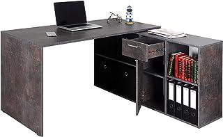RICOO WM081-BG Bureau Angle avec Rangement Table Console Extensible Meuble Bureau avec tiroir Étagère Armoir à Dossier Boi...