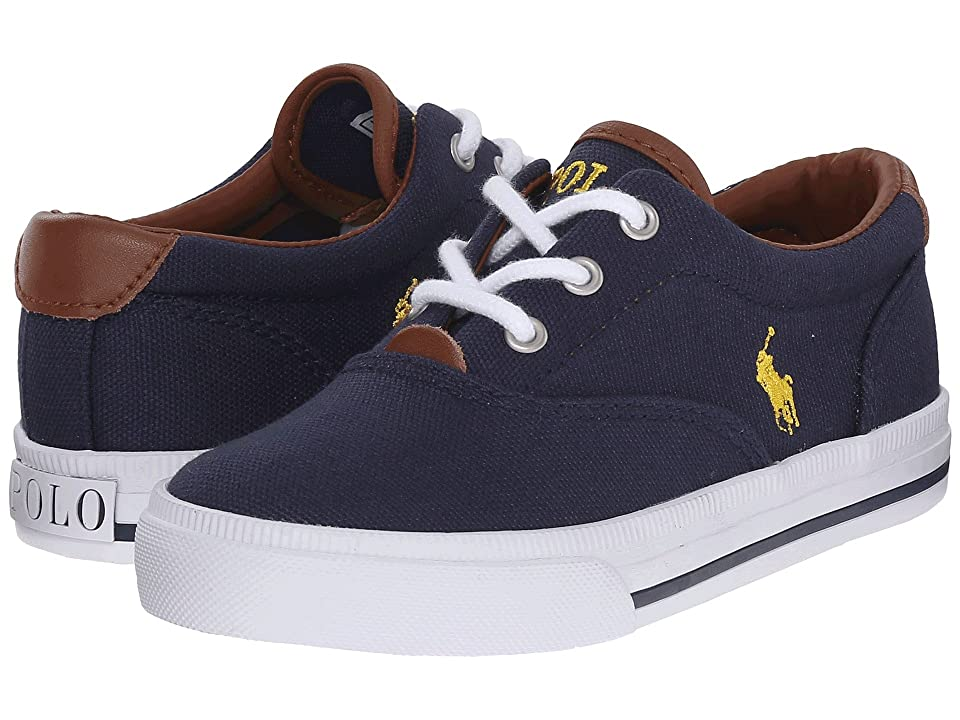 Polo Ralph Lauren Kids Vaughn II (Toddler) (Navy Canvas/Yellow) Boy
