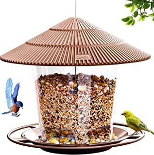 Hanizi Wild Bird Feeder, Panoramic Hanging Bird Feeder for Outside, Premium Plastic Brown, Garden Decoration Yard