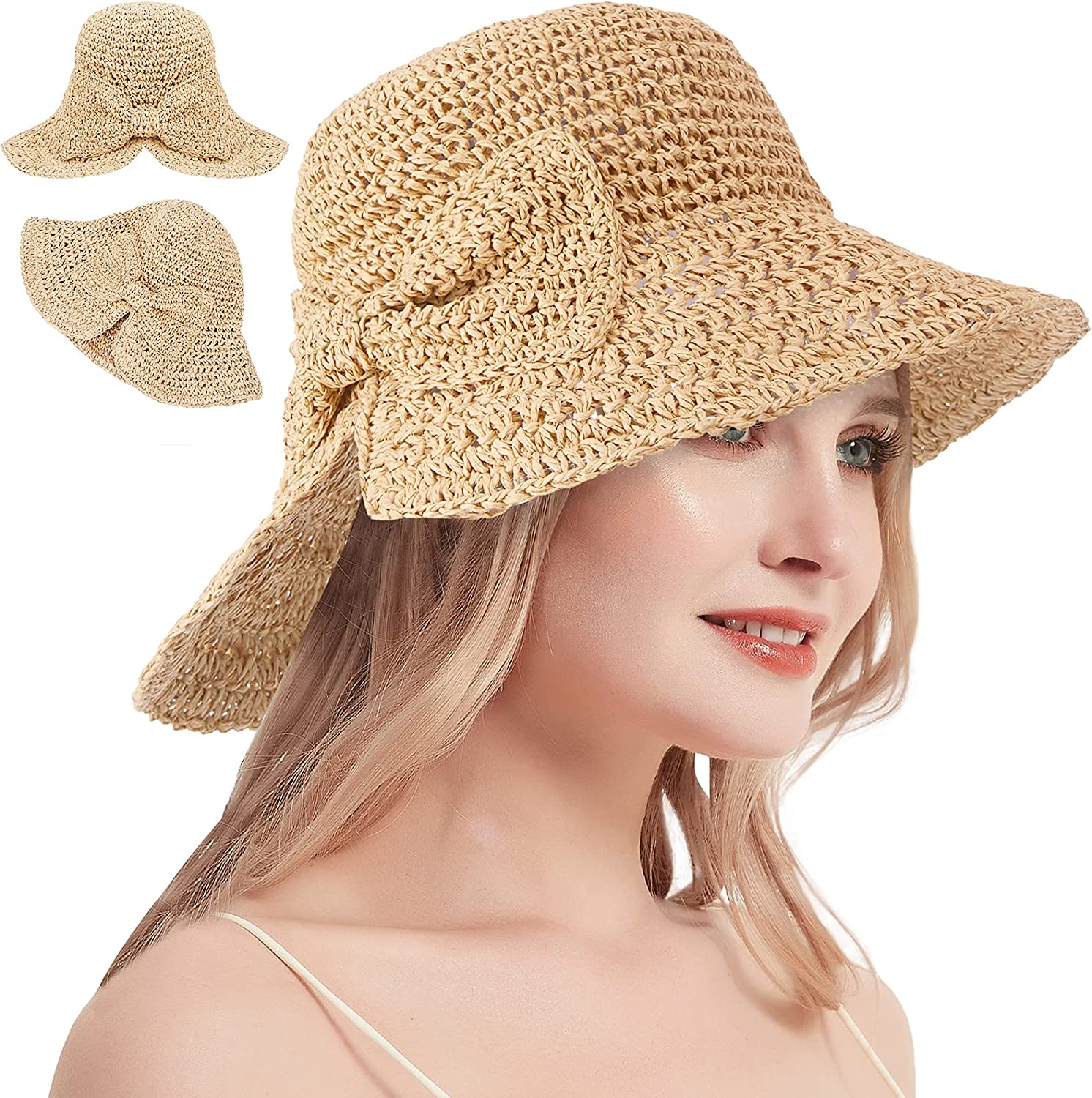 Floppy Beach Straw Sun Hat for Women, UPF UV Protection Large Wide Brim Bowknot Summer Hat for Vacation, Fishing, Travel