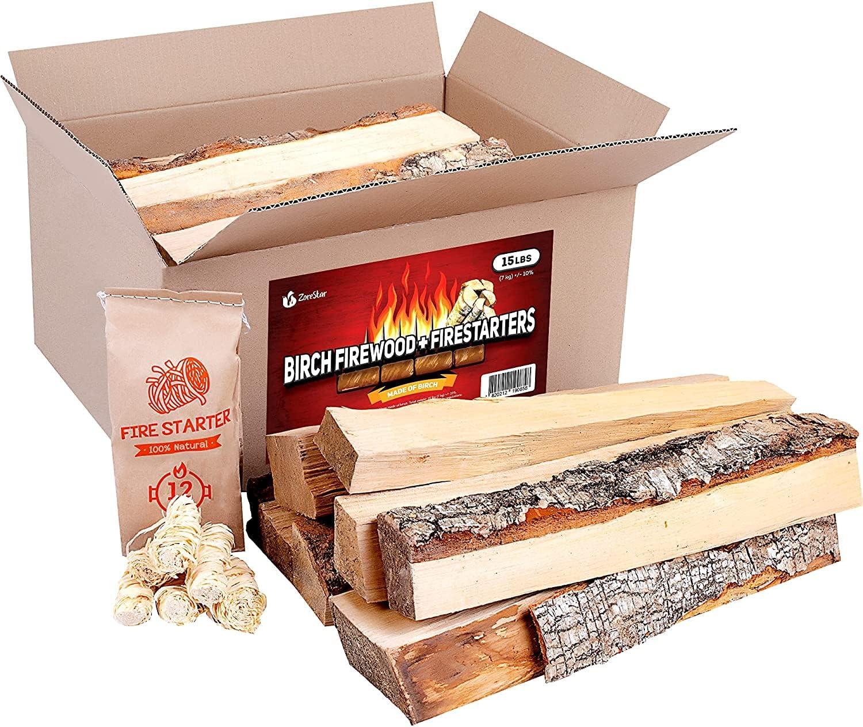 Zorestar shipfree Birch Firewood 15-20 lbs - Split Seasoned for Wood Fashionable Fire