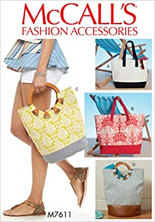 McCall's M7611OSZ Misses' Lined Tote Bags with Contrast Variations, One Size