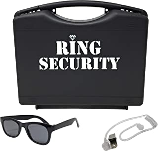 Wedding Ring Security Box with Black Sun Glasses and Top Secret Spy Ear Piece Ring Bearer Gifts Special Agent Ring Bearer Suitcase for Kids