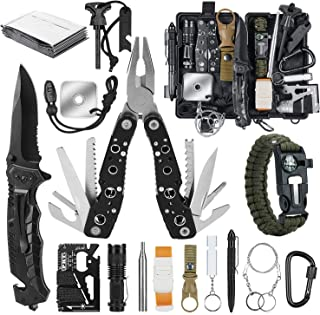 KOSIN Gifts for Men Dad Husband Fathers Day, Survival Gear and Equipment 17 in 1, Survival Kit Fishing Hunting Birthday Gi...