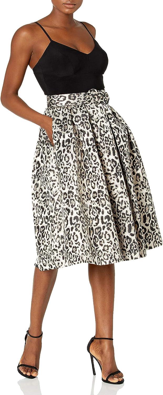 Eliza J Women's Spaghetti Strap Ity Top with Animal Print Party Skirt Dress