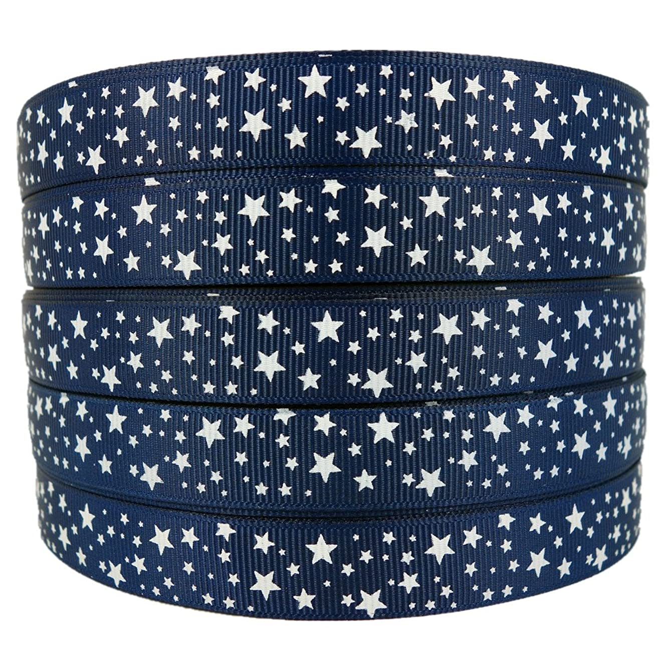50 Yards 5/8 Inch White Star Printed Navy Grosgrain Ribbon Hairbow Sewing Craft Supplies Decorative