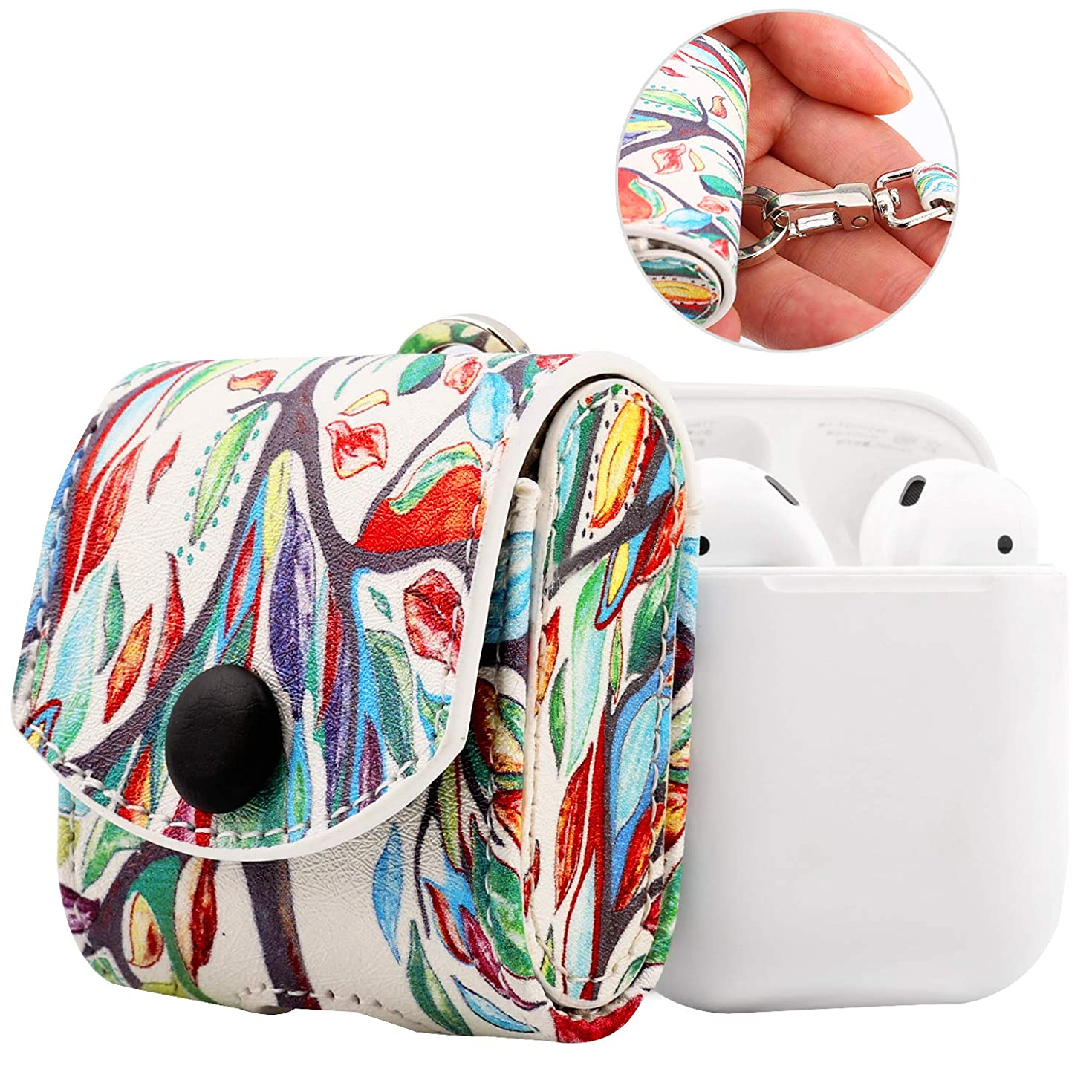 MoKo Case Fit AirPods 1/AirPods 2, Snap Closure Protective Cover Carrying Pouch Pocket, with Holding Strap, for Apple AirPods 1 & AirPods 2 Charging Case - Lucky Tree