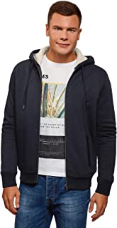 oodji Ultra Men's Hooded Sweatshirt with Zipper Closure