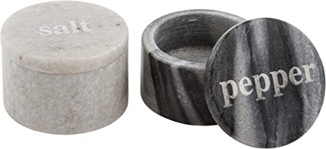 Thirstystone White & Black Marble Salt and Pepper-Pinch Bowls with Etched Lids, Keep Spices in These Adorable pots, Black/White