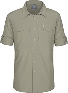 Little Donkey Andy Men's Stretch Long Sleeve Tactical Shirts, Ripstop, UV Protection and Water Repellent