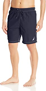 Nautica Men's Solid Quick Dry Classic Logo Swim Trunk