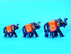 DreamKraft Handcrafted Set of 3 Showpiece Elephant for Decoration and Gift Purpose (9X6CM,7X 5CM,6X 4 cm)