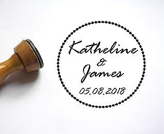 Timbro matrimonio personalizzati, nomi, data, forma rotonda, testo manoscritto