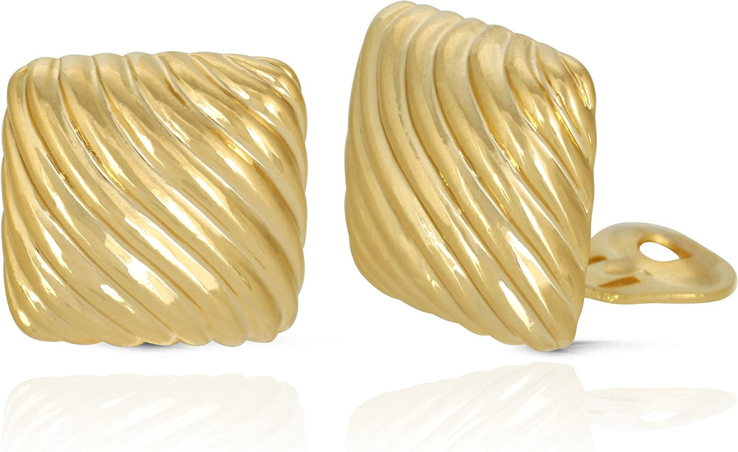 JanKuo Jewelry Gold Plated Square Wave Shining Polished Clip On Earrings