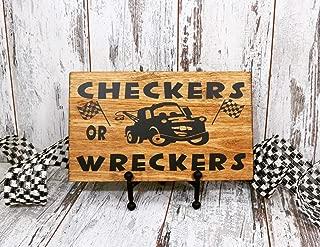 Dozili Checkers Or Wreckers Wood Sign Disney Cars Child's Room Decor Baby Decor Nursery Decor Racing Nusery Nascar 12