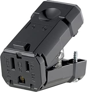 Leviton 5256-VBM 15 Amp Black Plug Straight Blade Industrial Grade Python Grounding 125 Volt