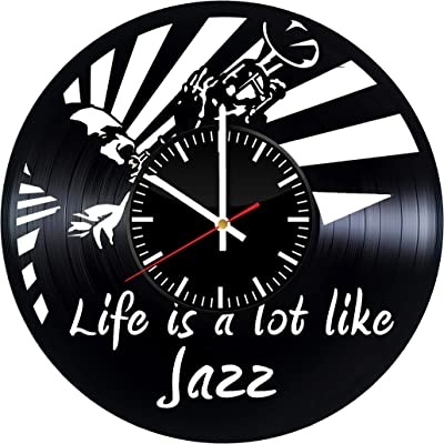 Life is a lot Like Jazz Vinyl Record Wall Clock, Art Handmade Gift Idea for