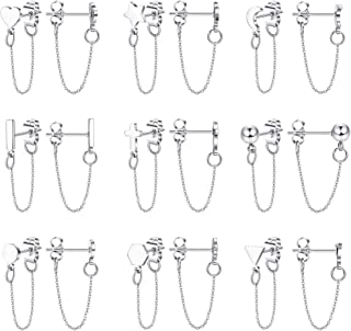 LOLIAS 9 Pairs Chain Earrings Ear Cuffs Minimalist Bar Earrings with Chain Stainless Steel Threader Stud Earrings for Women