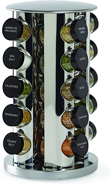 Kamenstein 30020 Revolving 20 Jar Countertop Spice Rack Tower Organizer With Free Spice Refills For 5 Years