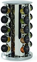 Kamenstein 30020 Revolving 20-Jar Countertop Spice Rack Tower Organizer with Free Spice Refills for 5 Years,Silver