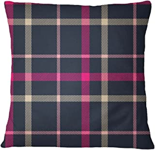 S4Sassy Fuschia Pink Bed Cushion Cover Check Print Indian Designer Square Pillow Case-18 x 18 Inches