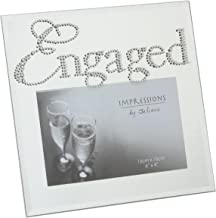 Oaktree Gifts Mirror Glassed Photo Frame with Diamante Words Engaged